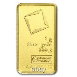 1 Gram 999.9 Fine Gold Bullion Bar VALCAMBI SUISSE w Assay Certificate