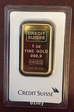 1 OZ CREDIT Valcambi SUISSE 999,9 FINE GOLD BAR ASSAY CERTIFICATE