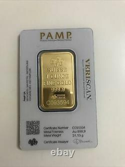 1 OZ Pamp Suisse Gold Bar 9999 Fine Gold With Orginal Certificate