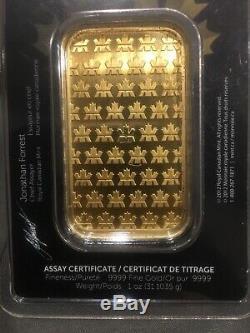1 Troy Oz Gold Bar Royal Canadian Mint (RCM). 9999 Fine Assay Certificate Serial
