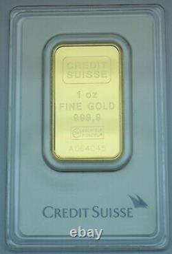 1 oz. Fine gold Credit Suisse bar. 9999 Assay certificate # A064043