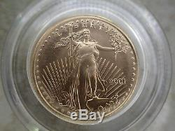 2001 $5 1/10 Oz Fine GOLD AMERICAN EAGLE PROOF WithBox & Certification
