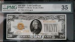 $20. 1928 GOLD SEAL GOLD CERTIFICATE PMG CHOICE VERY FINE 35 Star Note