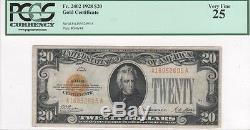 $20 Gold Certificate, 1928, FR2402, Woods-Mellon, PCGS Very Fine 25