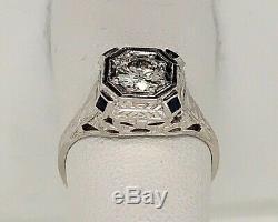 20 K White Gold Antique Art Deco Diamond Engagement Ring. 60ct Gia Certificate