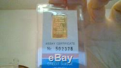 24K Fine Gold Ingot Credit Suisse 2.5 Grams Fine Gold Bar 999.9 With Certificate
