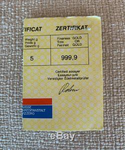 24K Fine Gold Ingot Credit Suisse 5 Grams Fine Gold Bar 999.9 With Certificate