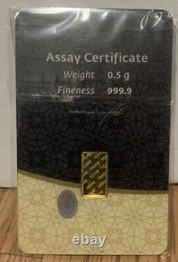 2 1/2 Gram Bars Of Gold. 9999 Fineness, IGR GOLD BAR, Assay Certificate