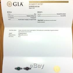 2.54ctw Natural Alexandrite Diamond 18k White Gold Ring with GIA Certificate