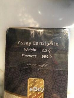 2.5 Grams Gold Assay Certificate. Fine Gold