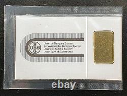 2g 999.9 Fine Gold Bar Union Bank of Switzerland Suisse Certificate No. 63292
