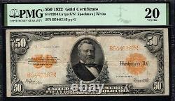 $50 1922 GOLD CERTIFICATE Fr#1200 LARGE S/N PMG VERY FINE 20 BRIGHT ORANGE BACK