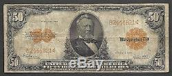 $50 1922 Gold Certificate==fr. 1200==grant==gold Seal==very Fine