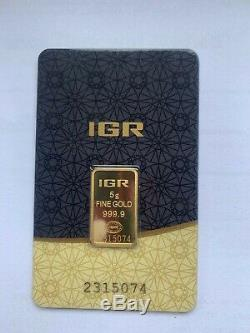 5.0 g Gold Bar New, Sealed with Certificate 999.9 Fine Gold FAST DELIVERY