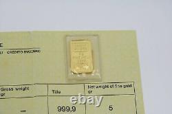 5 Gram Credit Suisse 24k. 9999 Fine Gold Bar with Certification