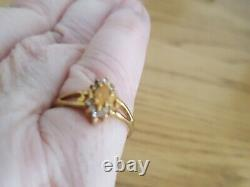 9ct Gold fire opal & white topaz ring size N 1/2 with certificate, fine jewelry