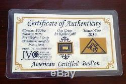 Acb Gold (100 Pack) 24k Solid Bullion Minted 1grain Bars 9999 Fine Certificate +