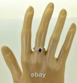 Amazing Art-Deco 18k white gold, 0.56ct Ruby&0.35ct Diamonds ring+CERTIFICATE