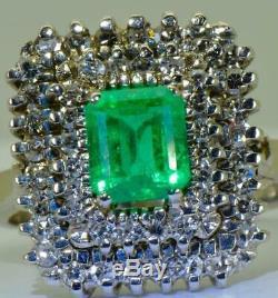 Amazing Art-Deco 18k white gold, Diamonds&1.1ct Emerald cluster ring+CERTIFICATE