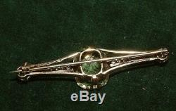 Antique 9ct Gold DIAMOND & 10CT CITRINE Triple Brooch WITH certificate & Boxed