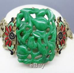 Antique Art Deco Bracelet Gold Enamel Jade w Certificate French f Chinese (5860)
