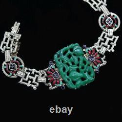Antique Art Deco Bracelet Gold Enamel Jade w Certificate French f Chinese (5860)