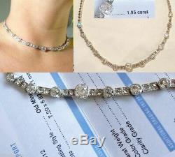 Antique Diamond Necklace Platinum Gold 9ct Diamonds GIA Certificate c1900 (5270)