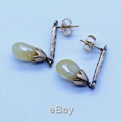 Antique Earrings Natural Baroque Pearls Diamonds 14k Gold GIA Certificate (6663)