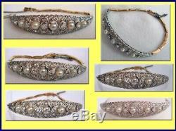 Antique Edwardian Bracelet Platinum Diamonds Pearls Gold w Certificate (3546)