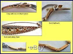 Antique Edwardian Platinum Gold Diamond Pearl Bracelet w Certificate (3546)