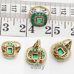 Antique Edwardian Ring Emeralds Diamonds 14k Chased Gold w Certificate (6117)