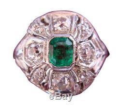 Antique Edwardian Ring Platinum Gold Emerald w Appraisal Certificate (4038)