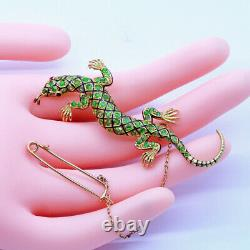 Antique Lizard Brooch Demantoid Garnet 18k Gold Enamel Ruby w Certificate (6879)