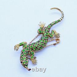 Antique Lizard Brooch Demantoid Garnet 18k Gold Enamel Ruby w Certificate (6879)