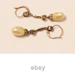 Antique Natural Pearl Earrings Diamonds Silver Gold GIA Certificate (6493)