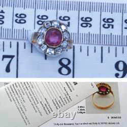 Antique Ring Natural Burmese Ruby Diamond GIA Certificate plus Appraisal (6479)