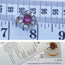 Antique Ring Natural Burmese Ruby Diamond GIA Certificate plus Appraisal (6479)