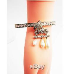 Antique Victorian Bangle Pendant Gold Diamonds Natural Pearls Certificate (6786)