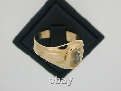 Antique natural Yellow sapphire certificate 18 ct gold ring size Q 1/2 6.4 grams