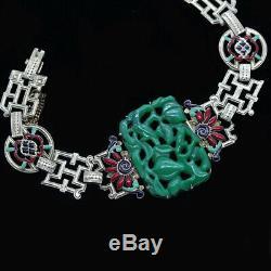 Art Deco Bracelet Jade w Certificate Gold Enamel French f Chinese Market (5860)