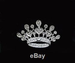 Art Nouveau (35) Diamond CROWN TIARA White Gold 14k BROOCH Pin Certificate