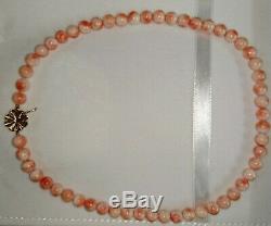 Certificate Vintage natural Angel skin CORAL necklace 14k solid gold JAPAN 7mm