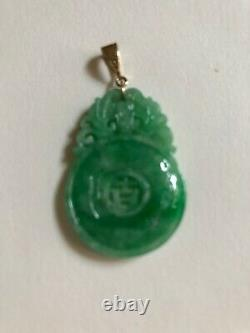 Certificate antique natural jade 14 k. Yellow gold lucky flower pendant