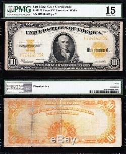 Choice Fine 1922 $10 GOLD CERTIFICATE! PMG 15! FREE SHIPPING! H72414083