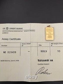 Credit Suisse 10 Gram Fine Gold 999.9 Bar withAssay Certificate and 14k Bezel