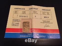 Credit Suisse 5 Gram 999.9 Fine Gold Bar Still Sealed With Certificate