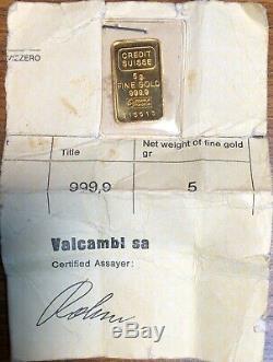 Credit Suisse 999.9 Fine 5 gram Gold Bar withAssay Certificate #F28