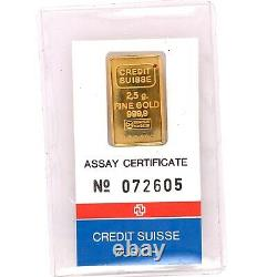 Credit Suisse Zurich 2.5 Grams Fine Gold Bar 999.9 Sealed Assay Certificate