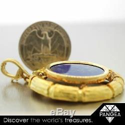 DAVID WEBB 18k Yellow Gold Bamboo Circle Lapis Pendant withCertificate