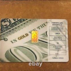 Degussa Karatbar. 9999 Fine Gold 1 Gram Bar Certificate Rare Hologram